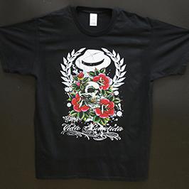 Sort t-shirt tryksprøve af A1 digital tekstil printer WER-EP6090T